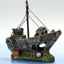 Wreck Gezonken Schip Aquarium Ornament Zeilboot Destroyer Aquarium Cave Decor Hars Ornament Landschapsarchitectuur Decoratie(China)
