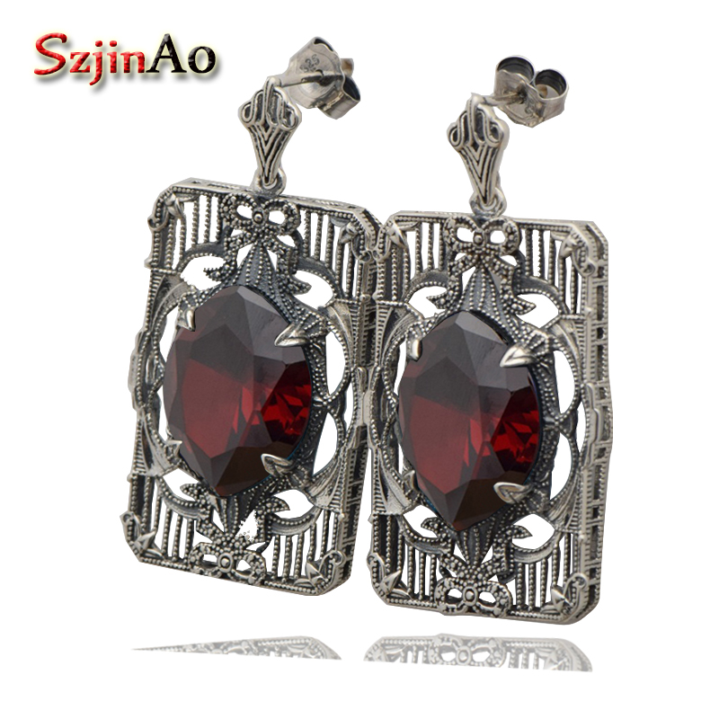 Szjinao Crystal Earrings For Women Vintage Ancient Garnet Pure 925 Sterling Silver Earrings Wedding Jewelry Drop Earrings цены онлайн