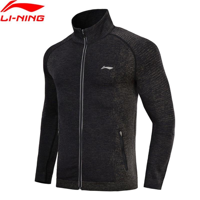 Li-Ning 2018 Men Running Jackets Seamless Fitness Knit Track Top Comfort Sweater Slim Fit Jogger Li Ning Sports Jackets AWYN001 slim fit cable knit turtleneck sweater