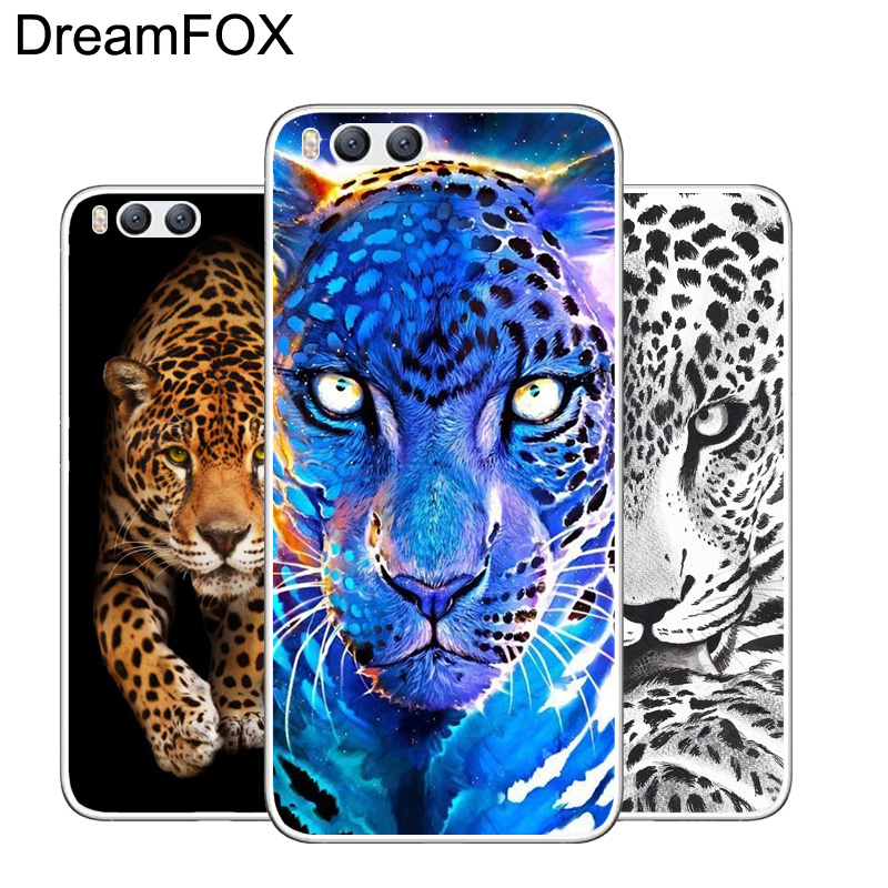 DREAMFOX M114 Leopard Art Soft TPU Silicone Case Cover For Xiaomi Mi Note 2 3 4 5 6 8 SE M5 4C 4S 5C 5S 5X 6X A1 Plus in Fitted Cases from Cellphones Telecommunications