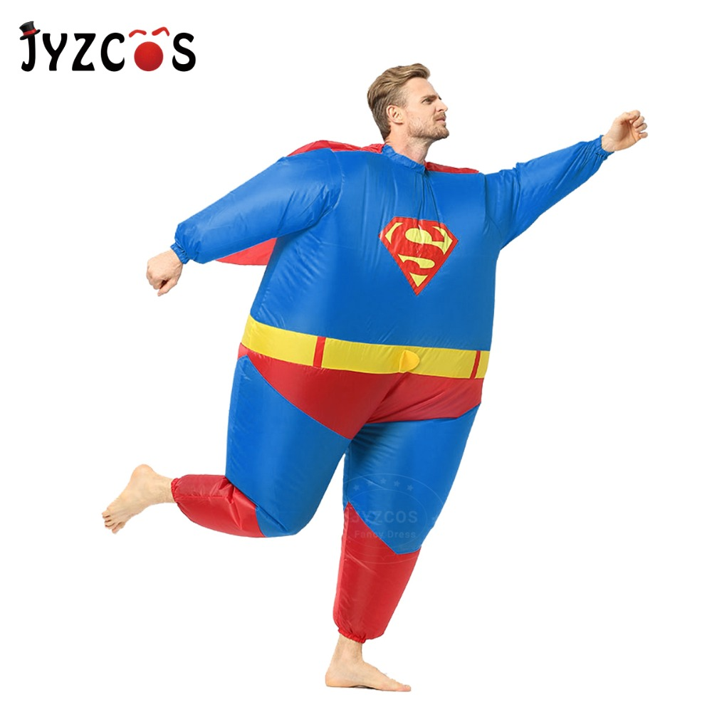 JYZCOS Adult Inflatable Superman Costume Halloween Costumes for Men Superhero Cosplay Costume Fantasy Inflatable Suit