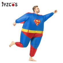 JYZCOS Adult Inflatable Superman Costume Halloween Costumes for Men Superhero Cosplay Fantasy Suit
