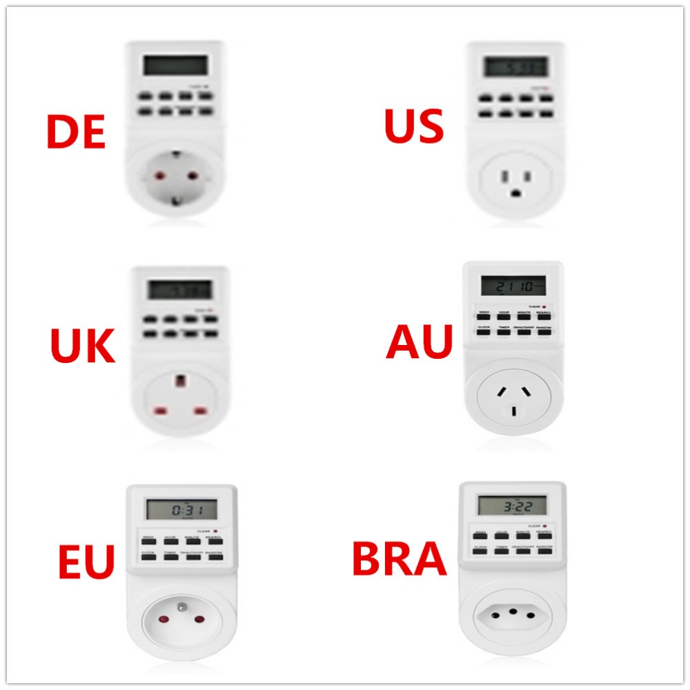 2018 New Electrical Auto Timer Switch Large LCD Display Smart Control Socket Digital Timer Plug-in Style EU/US/AU/DE/UK/BRA Plug new 100% original in stock mi smart zigbee timer plug phone wireless remote control xiaomi smart socket with eu au uk us adapter
