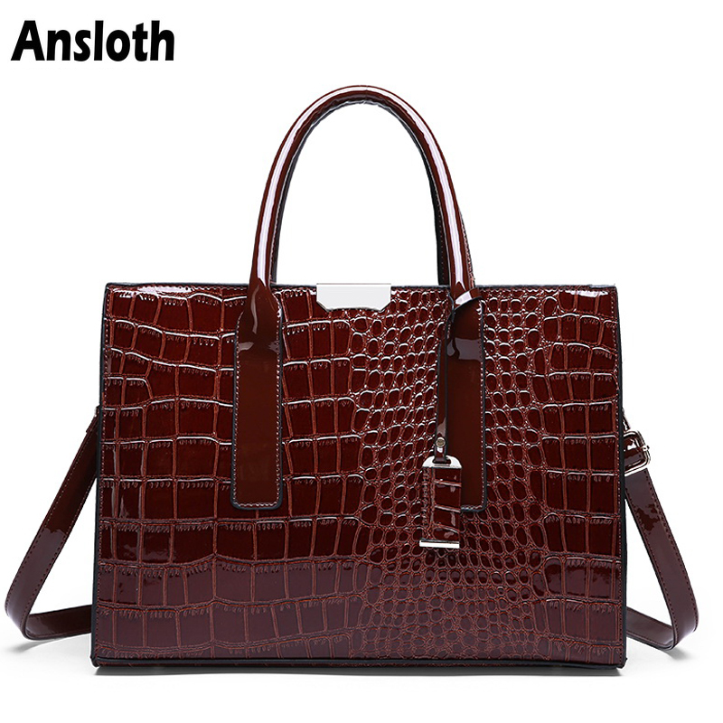 fd9e83b4ee4930 Ansloth Luxury Women's Bag Fashion Top handle Bags Crocodile Pattern Patent Leather  Handbags Classic Women Shoulder Bag HPS361-in Top-Handle Bags from ...