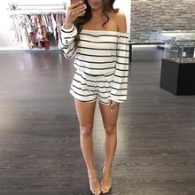 Women Long Sleeve Off Shoulder Striped Clubwear playsuit women summer Casual rompers womens jumpsuit shorts