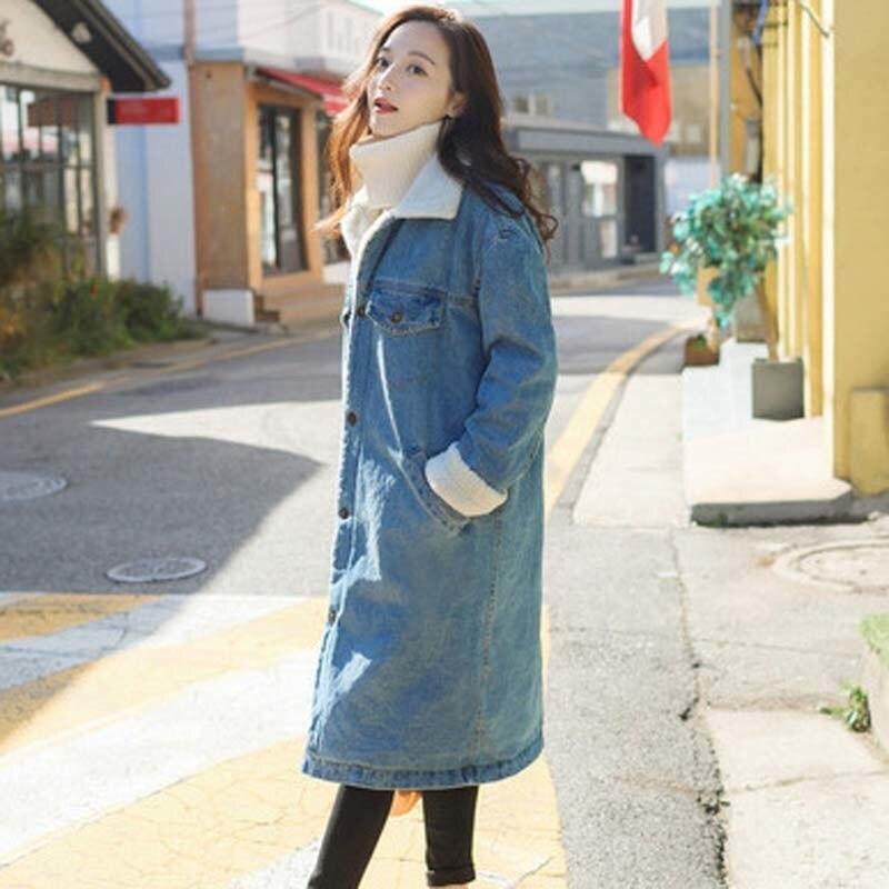 Parka Oversize Gy67 Couleur Mode Taille Veste D'hiver Long Outwear De Plus La Manteau Solide Coton Bouton Épais Chaud Blue Dames 08vmNwnO