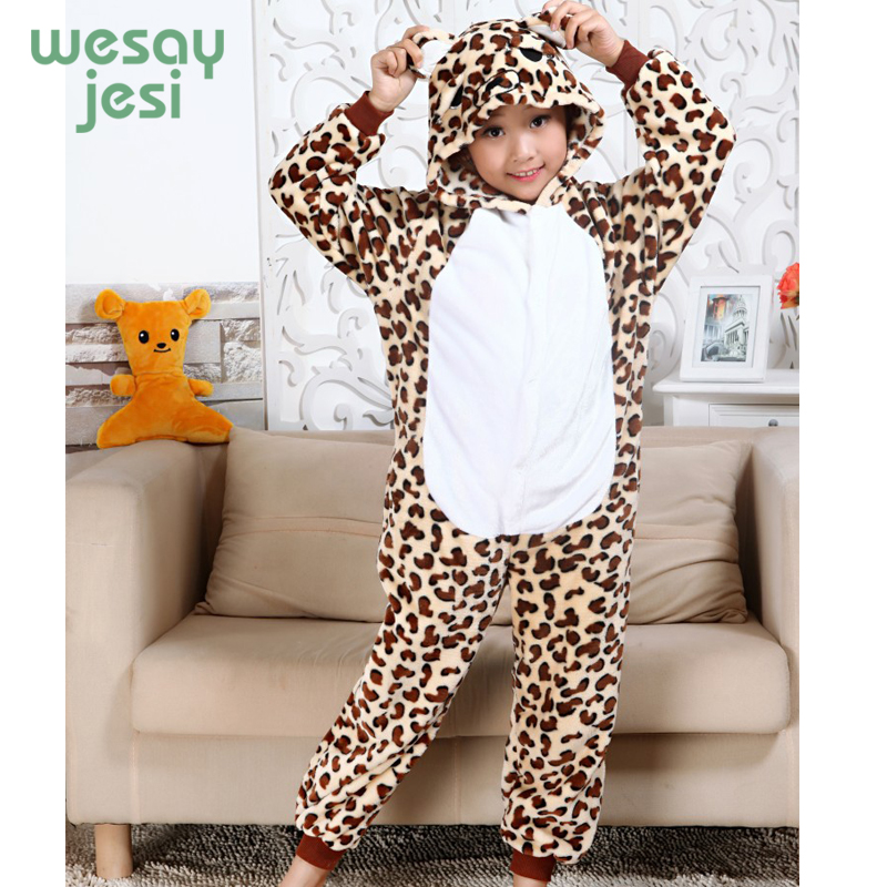 winter girl boy childrens pajamas Unisex baby onesie Infantil Cartoon Cheetah Flannel cl ...