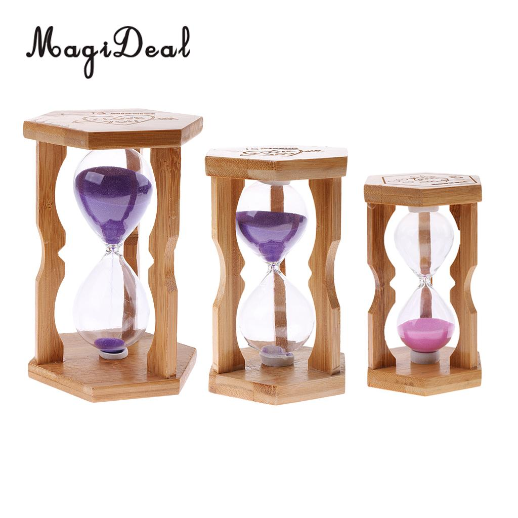 Sand Timer Bamboo Frame Hourglass for Kitchen Home Office Decor 5/10/15 Mins ...