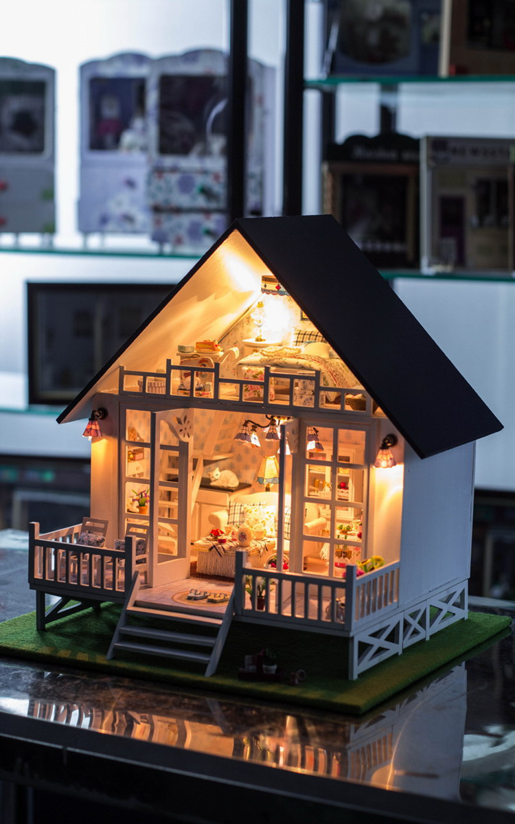 New Nordic Holiday Villa DIY Doll house miniatura Handmade wooden casa diy birthday gifts for adults