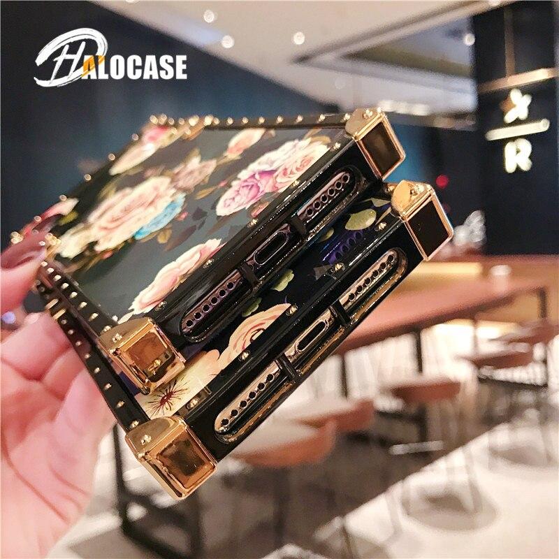 Купить с кэшбэком Luxury Blue Ray Rose Flower Glitter Metal Square Phone Case For Huawei P20 30 40 PLUS Mate 20 Pro Nova 2s 3 3i 3e Honor9 Y7 2019