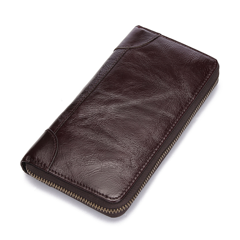 Vintage Clutch Wallet Men Genuine Leather Wallet Zipper Men Clutch Bags Male Purse Phone Pocket Coin Purse Cow Leather Bag vintage genuine sheepskin leather male men s long wallet purse phone wallets card holder zipper pocket clutch bag bags for men
