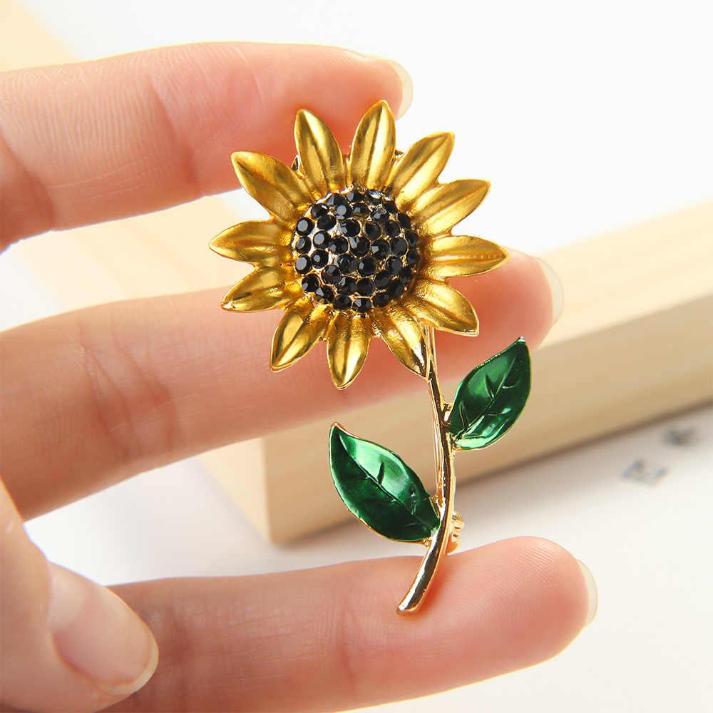 1 PC Bunga Matahari Enamel Bros Halus Kuning Ungu Elegan Women Girls Rhinestone Kerah Pin Pakaian Aksesoris Hadiah Perhiasan
