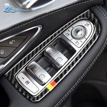 Скорости полета для Mercedes Benz W205 C класса C180 C200 C300 GLC аксессуары LHD углеродного волокна салона оконный переключатель охватывает