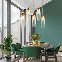 Restaurant Chandeliers Modern Minimalist Dining Tables Creative Personal Led Crystal Nordic Dining Room Lamps Island Light Led