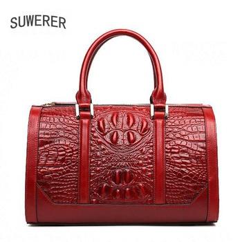 2020 New Genuine Leather  women bags Fashion Pillow bag luxury Crocodile pattern embossed designer women leather handbags