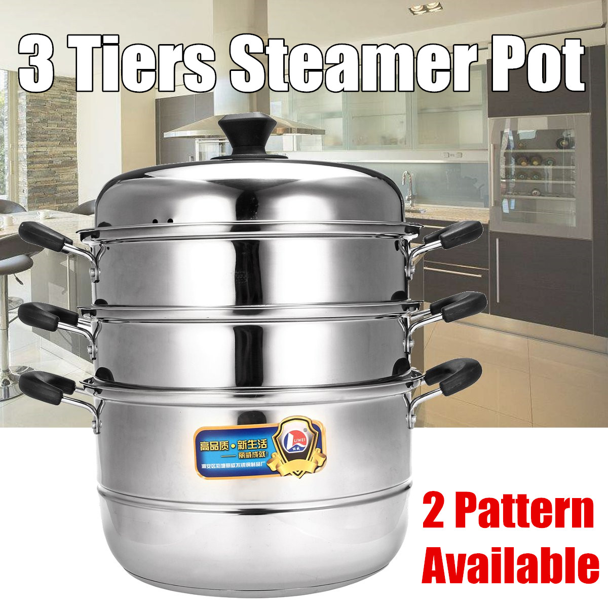 Multi-function Steamer Stainless Steel Steam Pot Cookware Home Kitchen Cooking Steamers Boiler Tools Induction Cooker 3 Tier