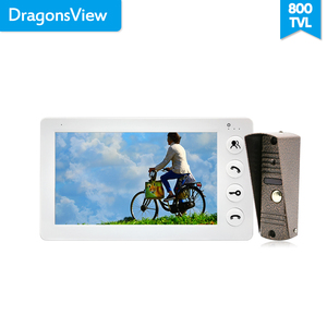 Dragonsview 7 Inch Video Door Phone Intercom System White/Black Video Door Entry Panel Intercoms for Private Home Call Panel