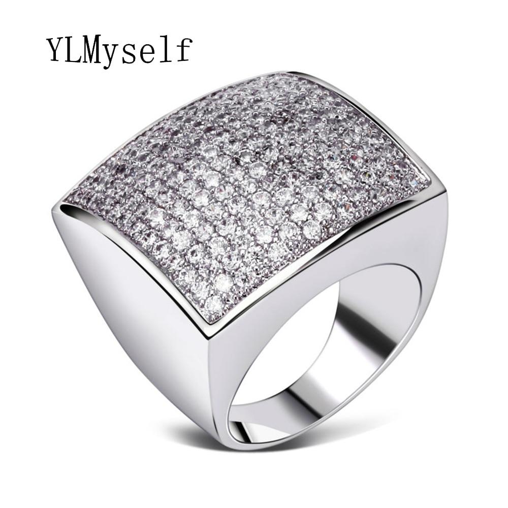 Grande anello unico di forma quadrata gioielli di alta qualità - Bigiotteria