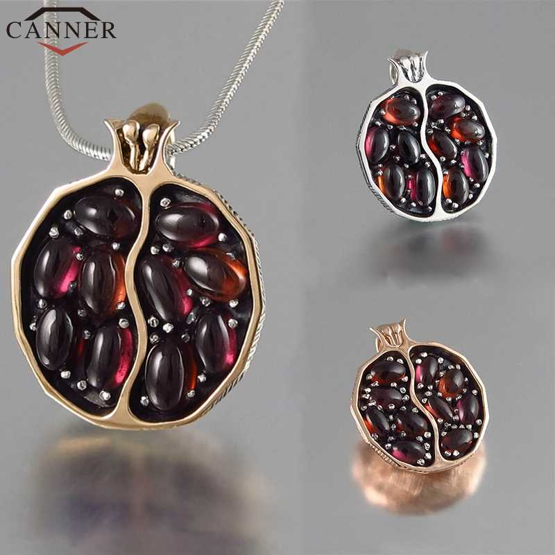 CANNER Vintage Pomegranate Necklace Women Pendant Necklace Chain Red Garnet Natural Stone Necklace Choker Gold collares FF