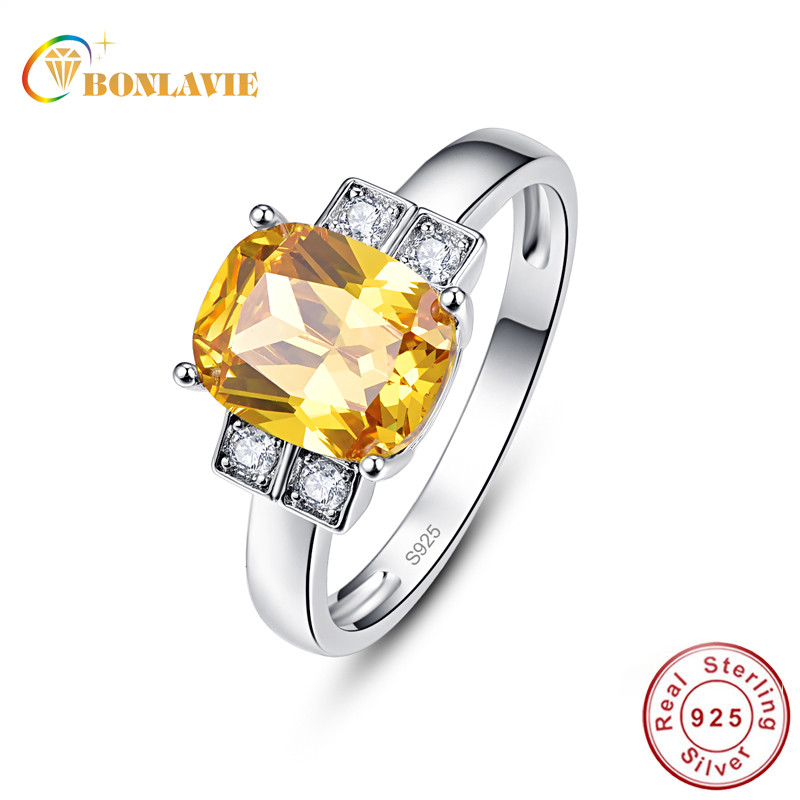 BONLAVIE Fine Jewelry Citrine 925 Sterling Silver Square Ring Woman Luxury Wedding Bands Jewelry Natual Yellow Stone Finger Ring