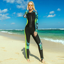 Sbart Yellow Wetsuit Women 2019 Sport One Piece Swimsuit Deep Zipper Snorkeling Suit Patchwork Printing Swim Wear Full Body New