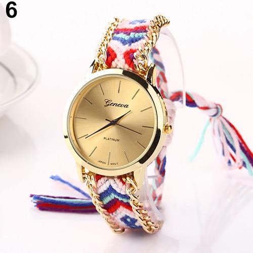 Popular Geneva Ethnic Style wristwatch with a design of Cotton Blend Braided Analog Quartz NO181 5UYM C2K5W