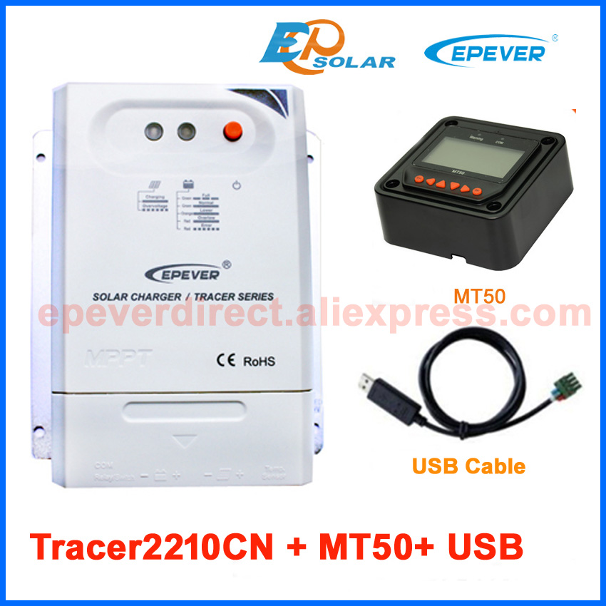 Solar Power Battery 12V/24V auto work bank charger controller MPPT Tracer2210CN Max PV input 100V USB PC cable and MT50 Meter charger battery 12v 24v auto work power bank controller tracer1215bn 10a solar tracer series mt50 meter and temp sensor cable