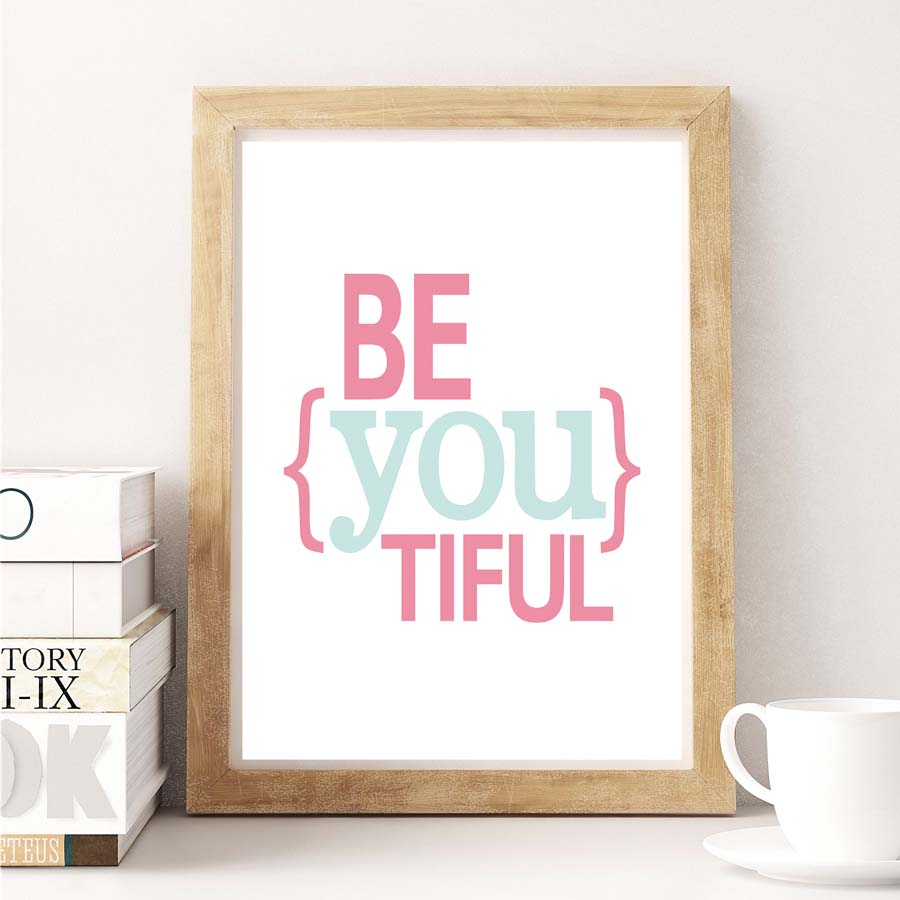 Be You Tiful Inspirational Quote Canvas Art Print Poster Paintings No Frame Office Wall Pictures Home Decor Nordic Decoration image