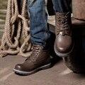 Eu38-48 invierno botines de cuero genuino botas para la nieve de los hombres con la felpa botas calientes impermeables zapatos de trabajo de los hombres botas de moto de combate del ejército