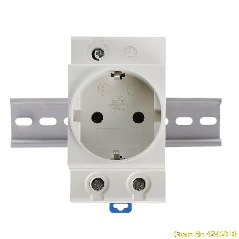 High Quality New EU Type 35mm DIN Rail Mount AC Power Socket 16A 250V AC Connector