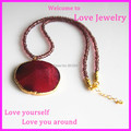 1PC Natural Stone Red Crystal Glass Quartz Pendant Round Loose Beads Long Chain Agate Druzy Necklace Women Jewelry
