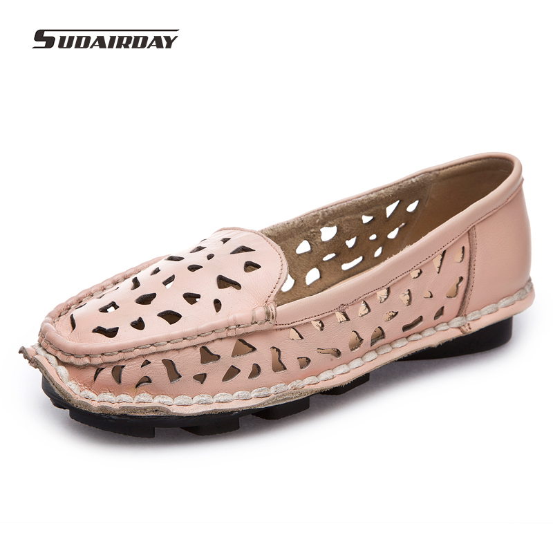 2017 Spring Women Genuine Leather Flat Shoes Women ...