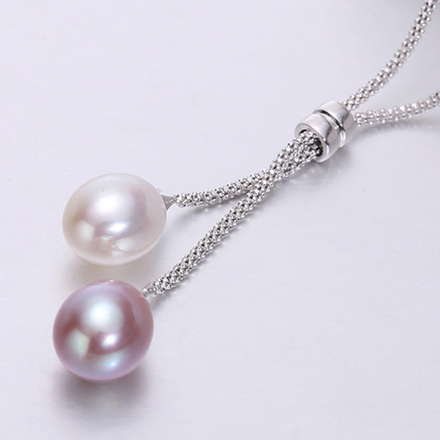 925 Silver Freshwater Pearl Pendant Necklace Women,Fashion Natural Pearl Pendants Jewelry Wife Mom Birthday Gift White 45cm