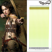 12PCS 30inch High Quality Yellow Rod Carbon Arrow Black Feather Composite / Recurve Hunting Shot