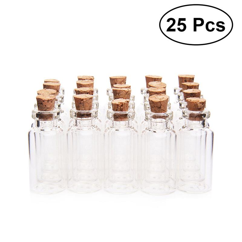 25 Pcs  18x40mm Clear Small Mini Glass Jars with Cork Stoppers DIY Wish Bottles For Message Weddings Wish Party Favors glass bottle