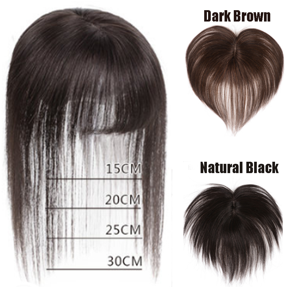 AOSI Women Man Toupee Bangs Protein Silk Straight Hand-made Hair Topper Hairpiece Top Piece Synthetic Heat Resistant Closure
