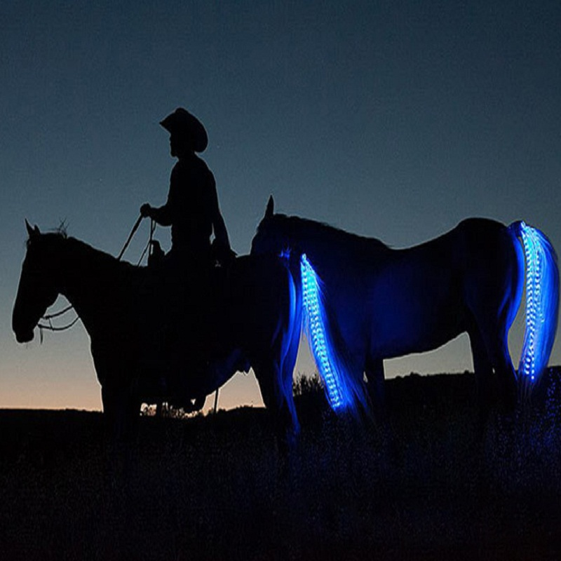 New Outdoor Sports Horse Riding Tail Trappings Equestrian LED Flashing Light Bar Harness With USB Charge Riding Decorations