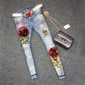 2016 Lentejuelas Jeans Mujeres Del Club Estilo Beat Street Agujeros Pantalones Vaqueros Rasgados Pantalones Vaqueros de Cintura Alta Pantalones Vaqueros Florales 1142