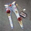 2016 calças de Brim Lantejoulas Mulheres Clube Estilo Rua Bater Buracos Calça Jeans Rasgado Calças Jeans De Cintura Alta calças de Brim Florais 1142