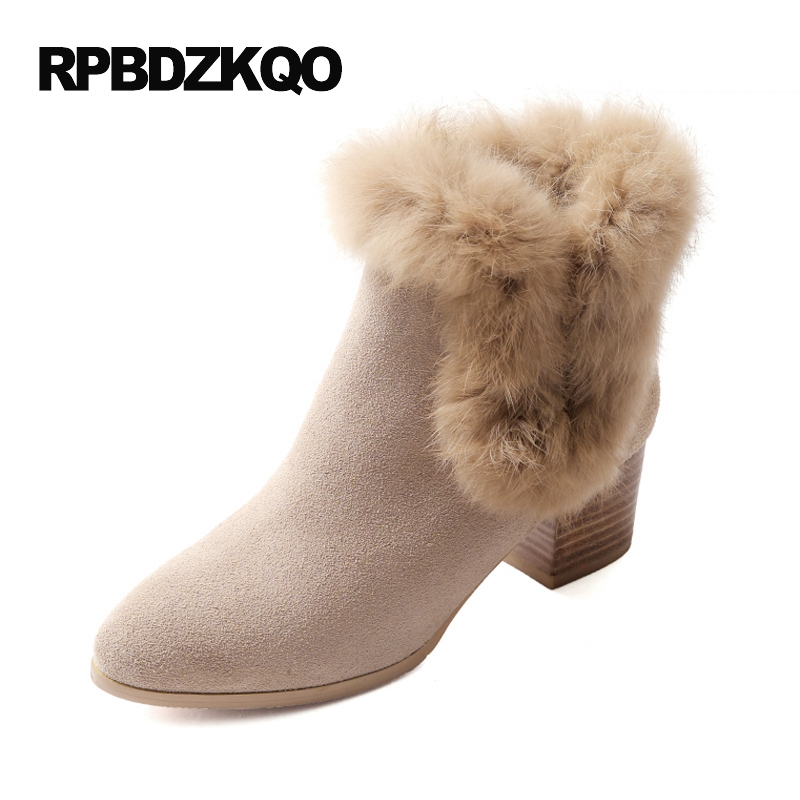 Chunky High Heel Women Ankle Boots Medium Winter Shoes Fur Short Chinese Furry Booties Round Toe Quality Genuine Leather 2017Chunky High Heel Women Ankle Boots Medium Winter Shoes Fur Short Chinese Furry Booties Round Toe Quality Genuine Leather 2017