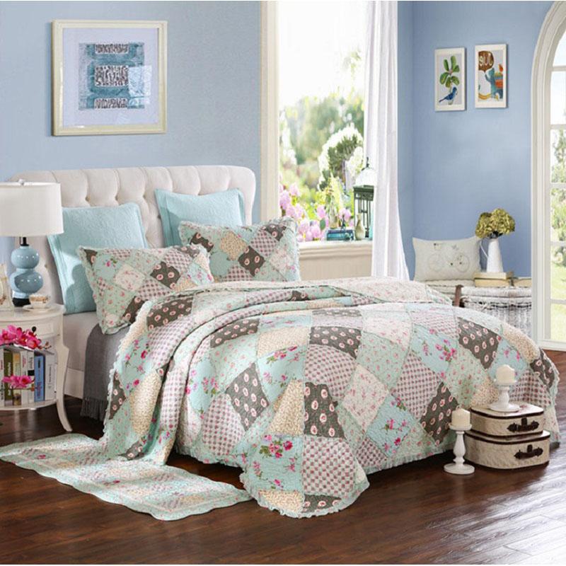 chausub coreano floral patchwork quilt set unids colcha de algodn acolchado colcha funda de almohada
