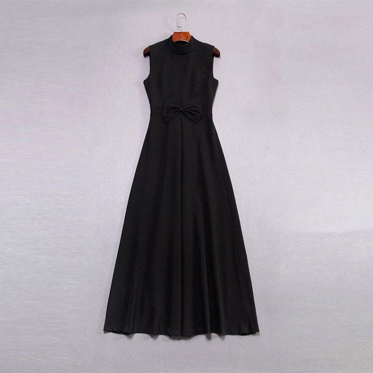 La red Longue Femme Vintage Robes Manches Black zoux Mode Taille Z Partie Plus Robe Noir Arc 2018 Sexy Stand Sans Nouveau RqnO5xwZP