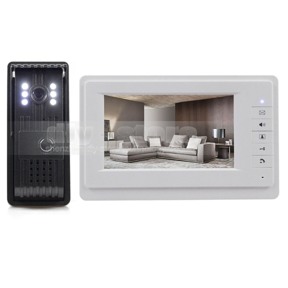 DIYSECUR 7inch HD Screen Video Door Phone Intercom Outdoor unit Camera Night Vision System 1 Camera 1 Monitor V70T-F diysecur 7inch video door phone doorbell video intercom metal shell camera led night vision 1 monitor black for home office