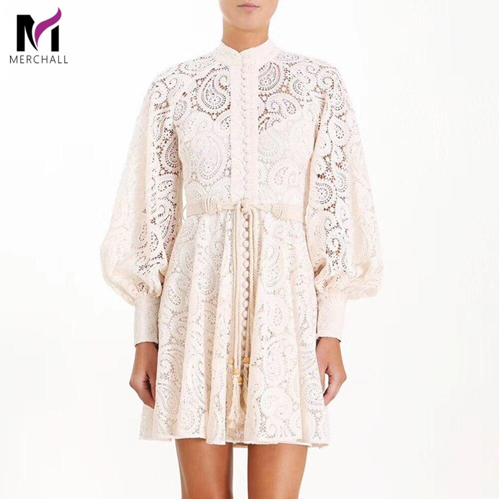 Marque Designer solide Floral broderie robe 2019 automne femmes évider lanterne manches col montant gland à lacets Mini robe