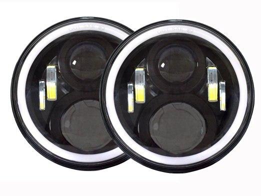 Pair 7 Inch Putaran LED Lampu lampu Halo Angle Mata + Sinyal Untuk - Lampu mobil - Foto 1