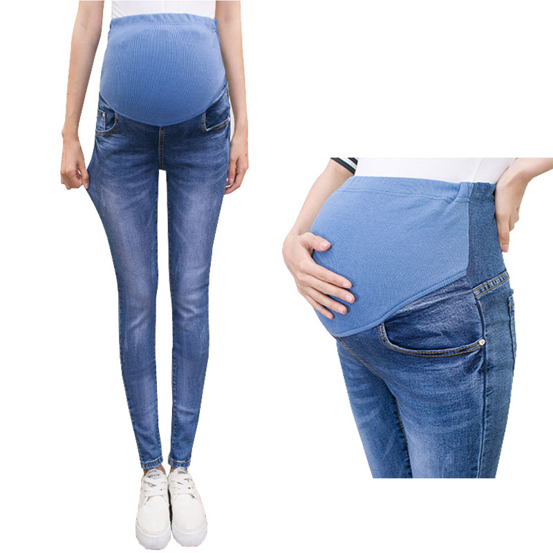 Abdominal Jeans For Pregnant Women Denim Skinny Trousers Nursing Maternity Clothes Elastic Waist Pregnancy Pants Autumn Clothing