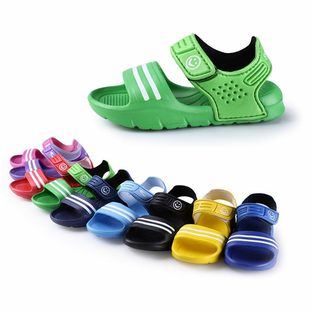 2019 1Pair Casual Children Kids Shoes Baby Boy Closed Toe Summer Beach Sandals Flat  Girls Casual Closed Toe Beach Pool Flat PVC