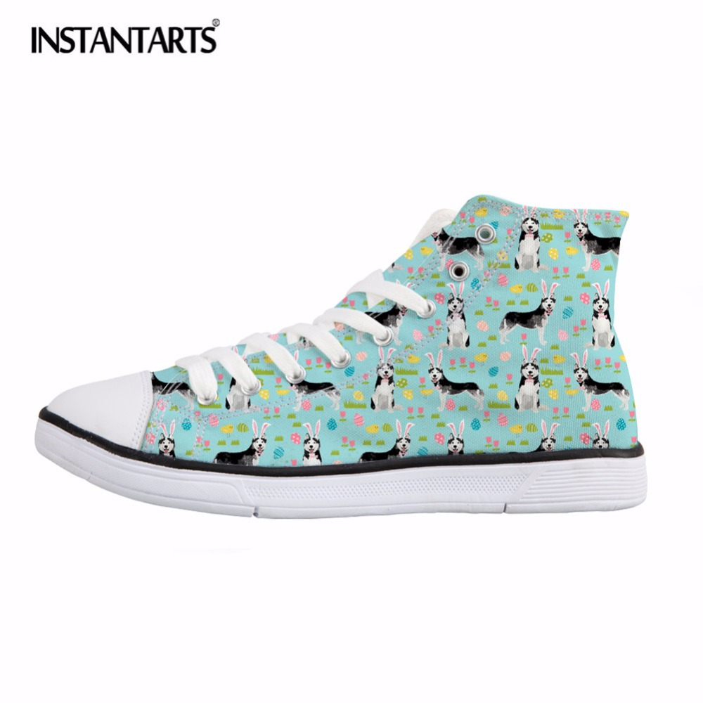 INSTANTARTS Cute Husky Print Women High Top Vulcanize Shoes Spring Lace Up Canvas Shoes Fashion Comfort Sneakers Female Flats