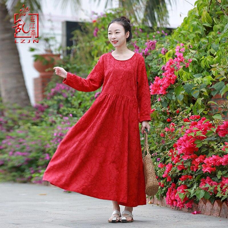 LZJN 2019 New Spring Maxi Dress Cotton Linen Women Long Dress Chinese Style Literary Retro Long