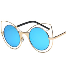 Cat ear sunglasses Women Vintage Summer Round Sun Glasses for Metal Frame Sun Glasses Women Fashion Radioprotection Top quality